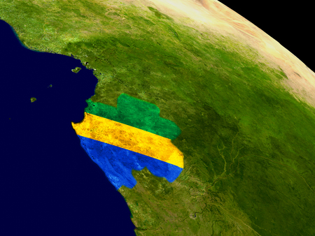 Map of Gabon with embedded flag on planet surface. 3D illustration.