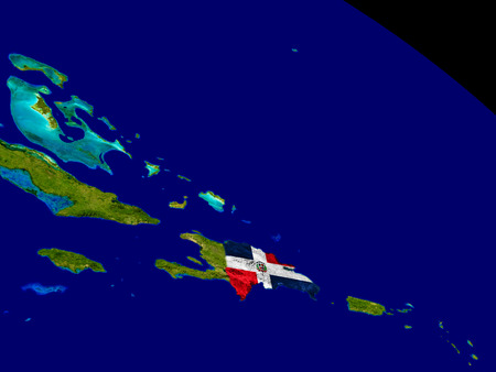dominican republic: Map of Dominican Republic with embedded flag on planet surface. 3D illustration. Stock Photo