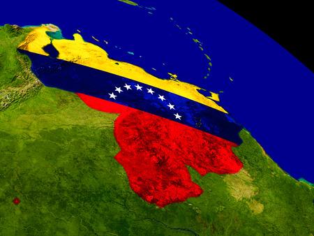 bandera de venezuela: Mapa de Venezuela con el indicador incrustado en la superficie del planeta. Ilustración 3D.