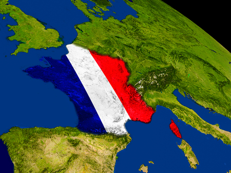 embedded: Map of France with embedded flag on planet surface. 3D illustration. Stock Photo