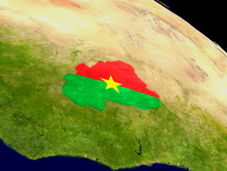 Map of Burkina Faso with embedded flag on planet surface. 3D illustration. Elements of this image furnished by NASA.