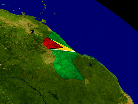 guyanese: Map of Guyana with embedded flag on planet surface. 3D illustration.