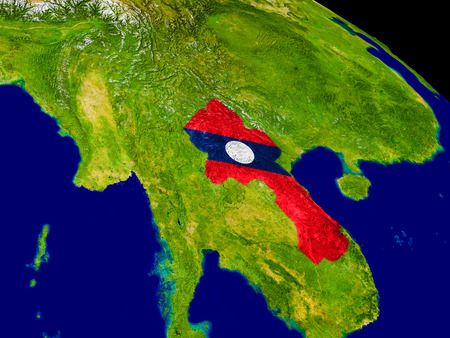 Map of Laos with embedded flag on planet surface. 3D illustration. Stock Photo