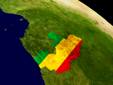 Map of Congo with embedded flag on planet surface. 3D illustration.