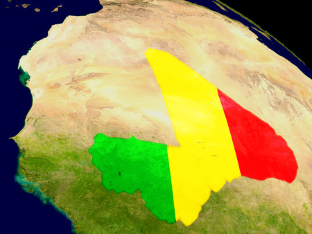 embedded: Map of Mali with embedded flag on planet surface. 3D illustration. Stock Photo