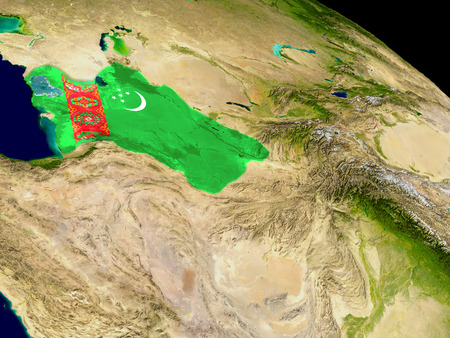 embedded: Map of Turkmenistan with embedded flag on planet surface. 3D illustration.