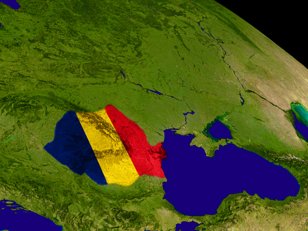 Map of Romania with embedded flag on planet surface. 3D illustration.