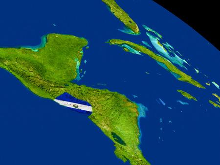 Map of El Salvador with embedded flag on planet surface. 3D illustration.