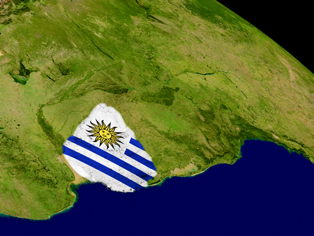 embedded: Map of Uruguay with embedded flag on planet surface. 3D illustration.