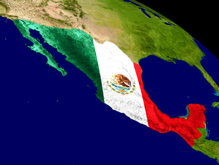 Map of Mexico with embedded flag on planet surface. 3D illustration.