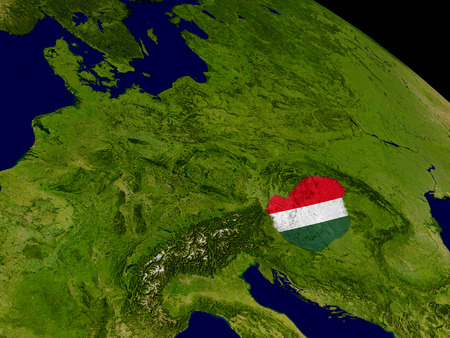 magyar: Map of Hungary with embedded flag on planet surface. 3D illustration.