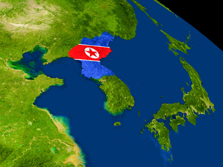 korean national: Map of North Korea with embedded flag on planet surface. 3D illustration. Stock Photo