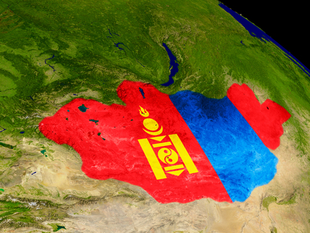 mongolia: Map of Mongolia with embedded flag on planet surface. 3D illustration. Stock Photo