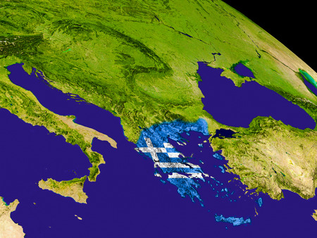 Map of Greece with embedded flag on planet surface. 3D illustration. Stock Photo