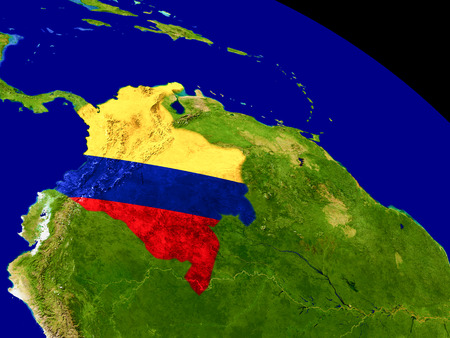 Map of Colombia with embedded flag on planet surface. 3D illustration.