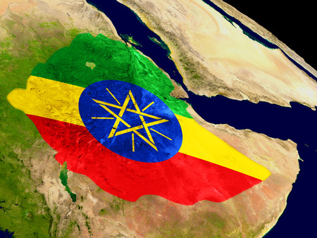 Map of Ethiopia with embedded flag on planet surface. 3D illustration.