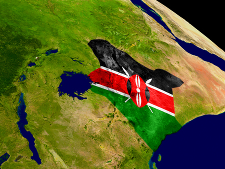 Map of Kenya with embedded flag on planet surface. 3D illustration.