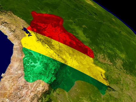 Map of Bolivia with embedded flag on planet surface. 3D illustration.