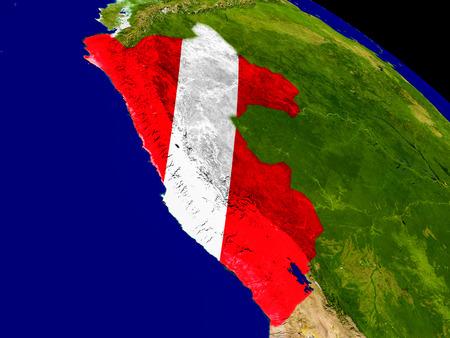 Mapa del Perú con el indicador incrustado en la superficie del planeta. Ilustración 3D.