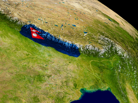 Map of Nepal with embedded flag on planet surface. 3D illustration.