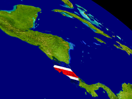 Map of Costa Rica with embedded flag on planet surface. 3D illustration. Banco de Imagens