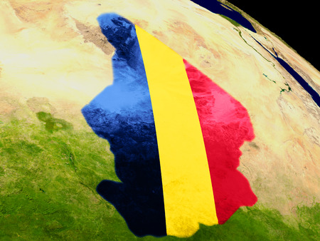 Map of Chad with embedded flag on planet surface. 3D illustration. Elements of this image furnished by NASA.