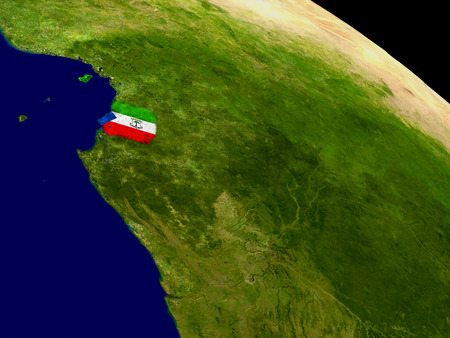 Map of Equatorial Guinea with embedded flag on planet surface. 3D illustration. Stock Photo