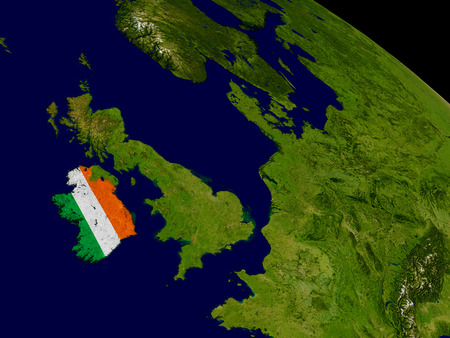 irish map: Map of Ireland with embedded flag on planet surface. 3D illustration. Elements of this image furnished by NASA.