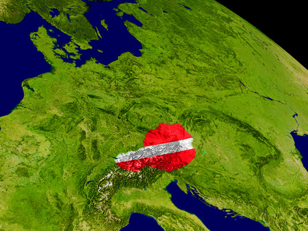 Map of Austria with embedded flag on planet surface. 3D illustration.