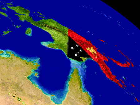 Map of Papua New Guinea with embedded flag on planet surface. 3D illustration. Stock Photo