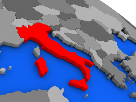 Map of Italy highlighted in red on a globe. 3D illustration