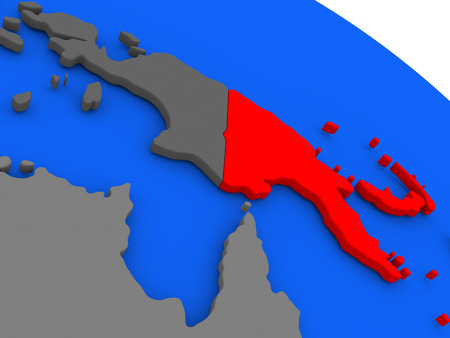 Map of Papua New Guinea highlighted in red on a globe. 3D illustration Stock Photo