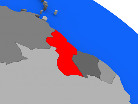 Map of Guyana highlighted in red on a globe. 3D illustration Stock Photo