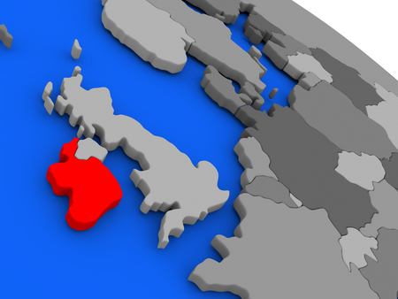 eire: Map of Ireland highlighted in red on a globe. 3D illustration