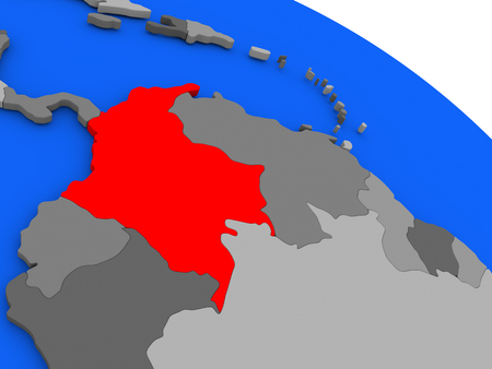 Map of Colombia highlighted in red on a globe. 3D illustration Stock Photo