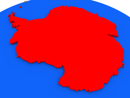 antarctica: Map of Antarctica highlighted in red on a globe. 3D illustration Stock Photo