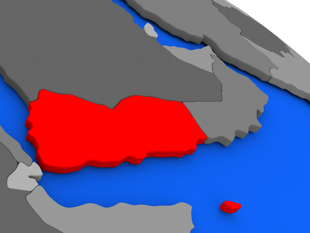 Map of Yemen highlighted in red on a globe. 3D illustration