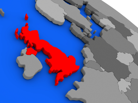 Map of United Kingdom highlighted in red on a globe. 3D illustration Stock Photo