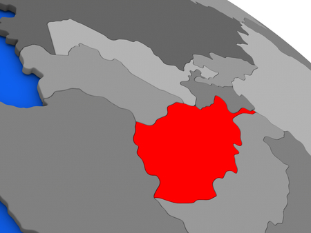 afghan: Map of Afghanistan highlighted in red on a globe. 3D illustration