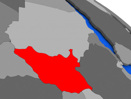 south sudan: Map of South Sudan highlighted in red on a globe. 3D illustration