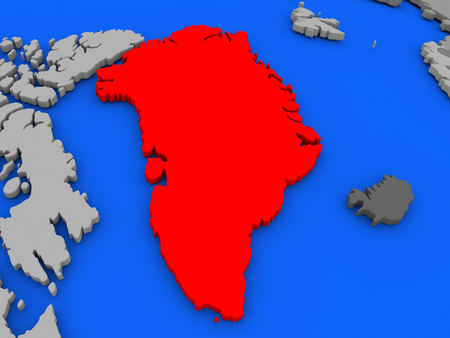 Map of Greenland highlighted in red on a globe. 3D illustration Stock Photo