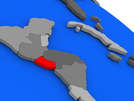 mapa de el salvador: Mapa de El Salvador destaca en rojo en un globo. ilustración 3D