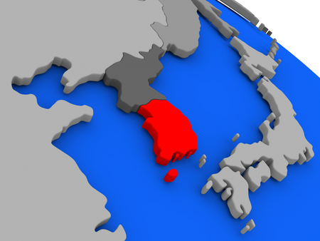 korean national: Map of South Korea highlighted in red on a globe. 3D illustration