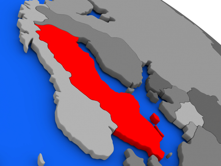 Map of Sweden highlighted in red on a globe. 3D illustration