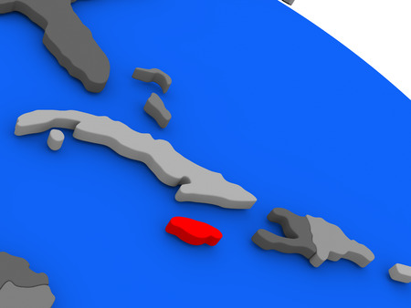 Map of Jamaica highlighted in red on a globe. 3D illustration