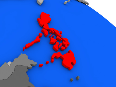 Map of Philippines highlighted in red on a globe. 3D illustration