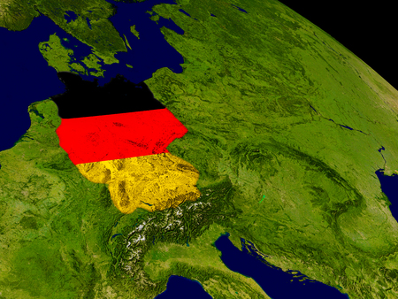 federal republic of germany: Map of Germany with embedded flag on planet surface. 3D illustration.