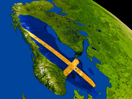 sverige: Map of Sweden with embedded flag on planet surface. 3D illustration. Elements of this image furnished by NASA.