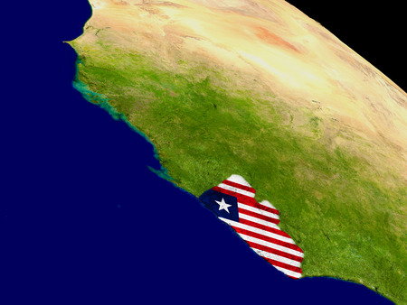 Map of Liberia with embedded flag on planet surface. 3D illustration. Elements of this image furnished by NASA. Stock Photo