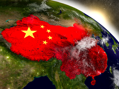 people's republic of china: China with embedded flag on planet surface during sunrise. 3D illustration with highly detailed realistic planet surface and visible city lights. Stock Photo